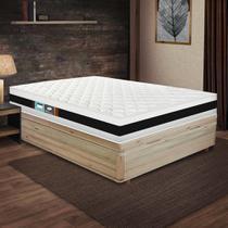 Cama Box Casal Rústica + Colchão De Espuma D45 - Castor - Black White Double Face 138x188x64cm -