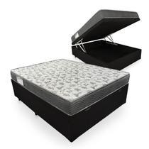 Cama Box Com Baú Casal + Colchão De Espuma D33 - Ortobom - ISO 100 138cm - Preto -