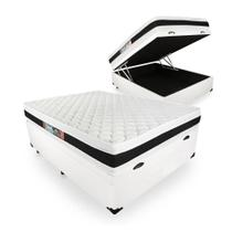 Cama Box Com Baú Casal + Colchão De Espuma D45 - Castor - Black White Double Face 138cm -