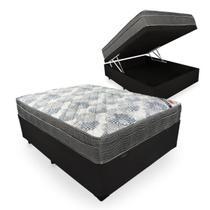 Cama Box Com Baú Casal + Colchão De Molas Ensacadas - Ortobom - ISO SuperPocket 138cm - Preto -