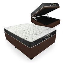 Cama Box Com Baú Casal + Colchão De Molas - Probel - Prodormir Sleep Black 138x188x64cm -