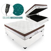 Cama Box Com Baú Casal + Colchão Massageador c/ Infravermelho - Anjos  - New King 138cm -