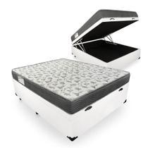 Cama Box Com Baú Casal Sintético + Colchão De Espuma D33 - Ortobom - ISO 100 138cm - Branco -