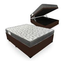 Cama Box Com Baú Casal Sintético + Colchão De Espuma D33 - Ortobom - ISO 100 138cm - Marrom -