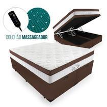 Cama Box Com Baú King + Colchão Massageador c/ Infravermelho - Anjos  - New King 193cm -