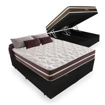 Cama Box Com Baú Queen Bipartido Tecido Sintético Preto com Colchão De Molas - Anjos - Superlastic 158cm - Bello Box