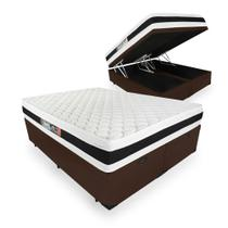 Cama Box Com Baú Queen + Colchão De Espuma D45 - Castor - Black White Double Face 158cm