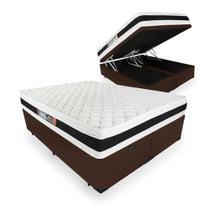 Cama Box Com Baú Queen + Colchão De Espuma D45 - Castor - Black White Double Face 158cm -