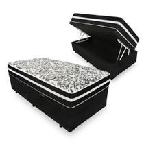 Cama Box Com Baú Solteiro + Colchão De Molas - Anjos - Black Graphite 88cm -