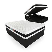 Cama Box Com Baú Viúva + Colchão De Espuma D45 - Castor - Black White Double Face 128cm -