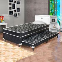 Cama Box Conjugado Solteiro com Auxiliar Espuma Sleep 0,88M Black - Sleep Brasil