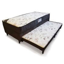 Cama Box Conjugado Solteiro Molas com Auxiliar Espuma Sleep 0,88M Marrom - Sleep Brasil
