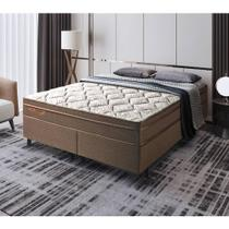 Cama Box King Manhattan Brown PKT Molas Ensacadas 193x203x61 - Palemax