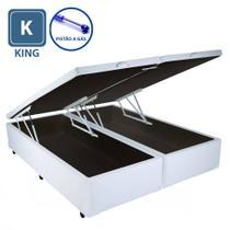 Cama Box KING SIZE com Bau Pistão a gás Branco Bipartido - 193x203 - A colchoes