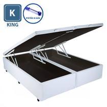 Cama Box KING SIZE com Bau Pistão a gás Branco Bipartido - Acolchões