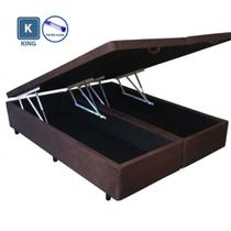 Cama Box KING SIZE com Bau Pistão a gás marrom suede Bipartido - 193x203 - Acolchoes