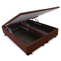 Cama Box KING SIZE Dabe Suede Marrom Bau Pistão Frontal - 193x203 -