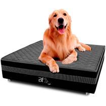 Cama Box Pet Bordado Em Matelassê Com Lençol Impermeável Branco Para Cachorros e Gatos 100x100x24cm - Caminha Pet - Bf Colchões -