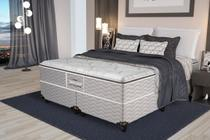 Cama Box Queen Guarda-Costas EPS + Espuma D45 Pillow Top Probel 158x198x68 cm Cinza/Floral
