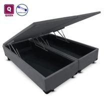 Cama Box QUEEN SIZE com Bau Pistão a gás cinza suede Bipartido - 158x198x27 - AColchoes
