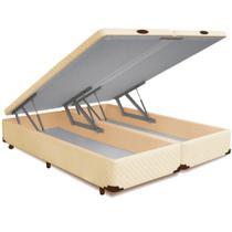 Cama Box QUEEN SIZE Dabe Bau Bipartido Pistão Frontal Bege - 158x198 -
