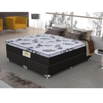 Cama Box Queen Size Flora Molas Ensacadas Gazin 158x198x61Preto -