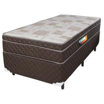 Cama Box Solteiro + Colchão De Molas Ensacadas Com Pillow In Cavan 88x188x66 Marrom - Rifletti Colchões