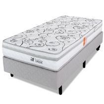 Cama Box Solteiro Colchão Ortopédico Espuma D28 Certificada Box Cinza BF Colchões 88x188x56cm -