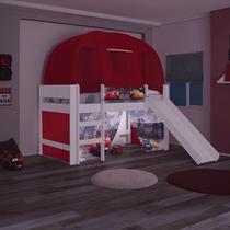 Cama Carros Disney Play com Luz de Led Escada Escorregador Cortina e Barraca - Pura Magia -