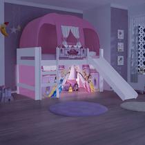 Cama Carros Princesas Disney Play com Luz Led Escada Escorregador Cortina e Barraca - Pura Magia -