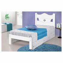 Cama de Solteiro Julia Carmolar Branco/Flex - Rosa - Lilas e Azul 100% MDF CestaPlus -