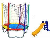 Cama Elástica 1,50 M Colorida + Escorregador Medio - Império Kids