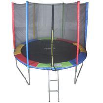 Cama Elástica De 3,05m Colorida Pula Pula + Escada + Rede - Tssaper