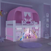 Cama Elevada Princesas Disney Play com Luz de Led Escada Cortina e Barraca Rosa - Pura Magia -