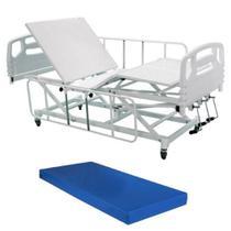 Cama Hospitalar Manual Elevação e Descida do Leito Semi Luxo com Colchão D33 - Desematec