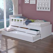 Cama Infantil Bicama 3 Gavetas com Grade 100% Mdf 907910 Branco - Foscarini -