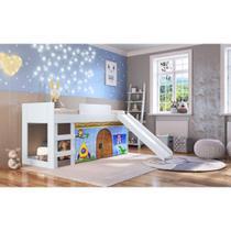 Cama Infantil c/Escorregador e Tenda Azul Estampada Casatema -