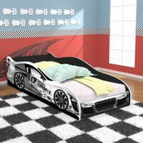Cama Infantil Carro Drift 150x70 - Branco/Preto - mmn Móveis - Mmmn Móveis