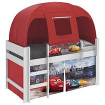Cama Infantil Carros Disney com Barraca Branco/Vermelho - Pura Magia -