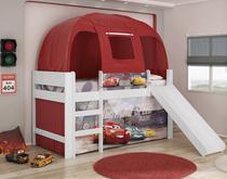 Cama Infantil Carros Disney Play Relâmpago McQueen Completa Com Escorregador E Barraca Pura Magia -