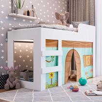 Cama Infantil Com Cortina E Protetores Branca Art In Móveis -