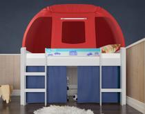 Cama Infantil com Escada e Barraca Branco/Azul/Vermelho AB Móveis - Pura Magia