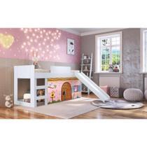 Cama infantil com escorregador e tenda alice rosa casatema -