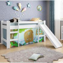 Cama Infantil com Escorregador e Tenda Casinha de Pedra Azul - Casatema -