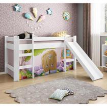 Cama Infantil com Escorregador e Tenda Casinha de Pedra Rosa - Casatema -