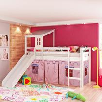 Cama Infantil com Escorregador, Telhado II e Tenda Castelo Rosa - Casatema -