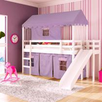 Cama Infantil com Escorregador, Tenda e Telhado Casatema -