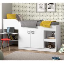 Cama Infantil com Escrivaninha 2 Portas e Nichos Multimóveis Branco Premium -