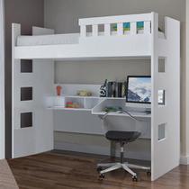 Cama Infantil com Escrivaninha e Grade de Proteção 100% Mdf U231623 Branco - Foscarini -