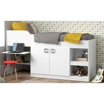 Cama Infantil com Escrivaninha Multimóveis Branco Premium 2511 c/2 Portas e Nichos REF. 2511.010 -